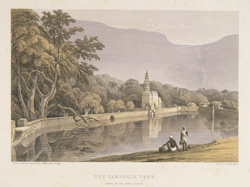 'The Campolie Tank, foot of the Bore Ghaut'. One of a series of Views in India and in the vicinity of Bombay. Lithographed by W. Spreat after Major Pouget. Published in London, c.1850